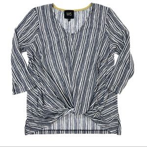 W5 White and Blue Striped Twist Front Knit Top
